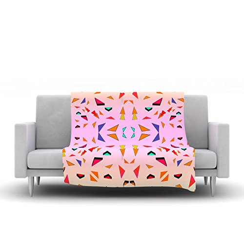 60 by 50 Kess InHouse Vasare NAR Candy Land Tropical Pink Geometric Fleece Throw Blanket