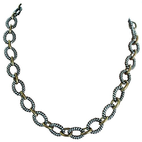 18k Yellow Gold and 18k White Gold Plated Cable Link Chain Necklace, Length- 18
