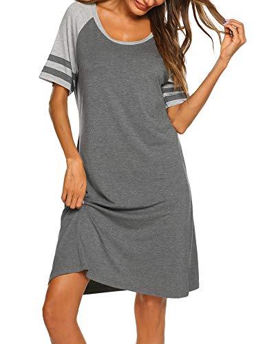 (Hotouch Nightdress Womens Cotton Nightgowns Short Nightshirt Sleepwear Short Sleeve Sleepshirts Grey XXL)