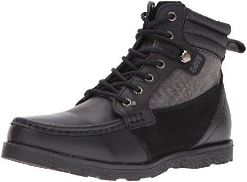 DVS APPAREL Men's Bishop Boat Shoes, Brown Leather Cordura Black Leather