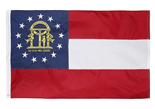 Nylon Georgia Indoor Flag - State 3x5 Feet Nylon Flag - Embroidered Oxford 210D Heavy Duty Nylon, Durable and Long Lasting - 4 Stitch Hemming. Vivid Colors & Fade Resistant. 3x5 Foot (Georgia)