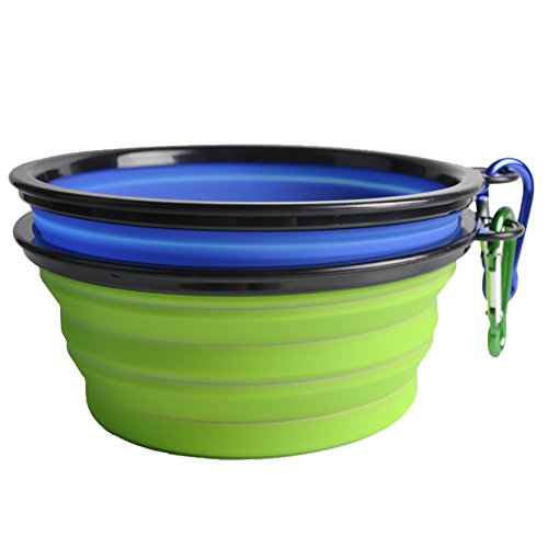 QBLEEV Collapsible Dog Bowl, Food Grade Silicone BPA Free FDA Approved, Foldable Expandable Cup Dish for Pet Dog/Cat Food Water Feeding Portable Travel Bowl, Set of 2 (S, Blue+green)