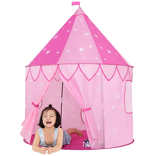 "JOYBEE Children Play Tent,Girls Princess Castle for Indoor/Outdoor Use,Pink Upgrade 190T Polyester 47"" D x 55"" H with Glow in the Dark Stars Foldable with Carry Case"