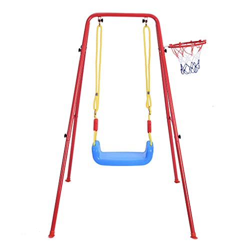 AutumnFall Multipurpose Children's Toys Swing Basketball Combination Swing Set Indoor and Outdoor Games Play,Provide Swing and Basketball Training (A)