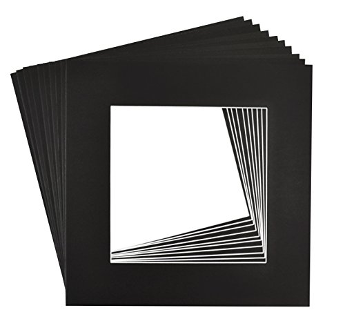 Golden State Art, Pack of 10, 12x12 Black Picture Mats Mattes with White Core Bevel Cut for 8x8 Photo by Golden State Art