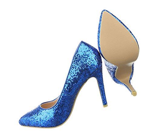 Damen Pumps Schuhe High Heels Stiletto Stöckelschuhe Glitter 36 - 41