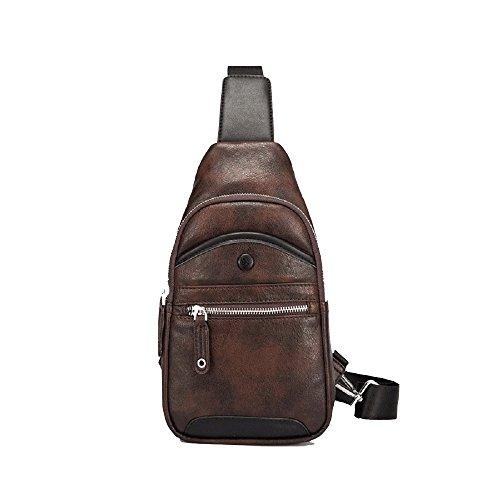 Bolso de marrón Cuero de Bolso de Hombro Zhrui Hombre de de Hombre Marrón Hombro wq8XSxg7S