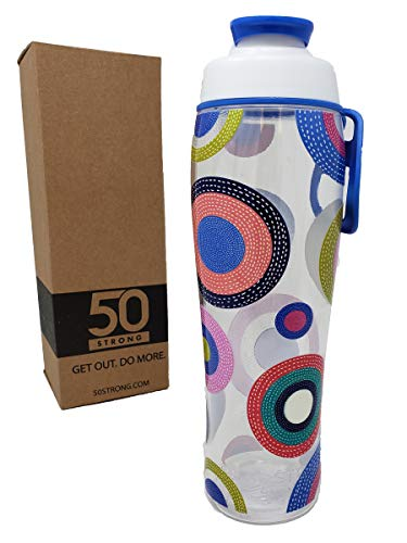 50 Strong BPA Free Gym Water Bottle with Ice Guard Flip Top Cap & Carry Loop - Cute Designer Prints - Perfect for Men, Women, Sports & Workout - 24 oz. - Made in USA (Colorful Spots, 30 oz.)