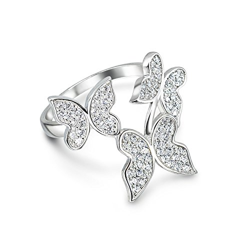 (Sterling Silver CZ Butterfly Statement Ring - 8)