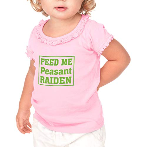 Cute Rascals Feed Me Peasant Raiden Short Sleeve Toddler Cotton Ruffle Top Tee Sunflower - Soft Pink, 6 Months