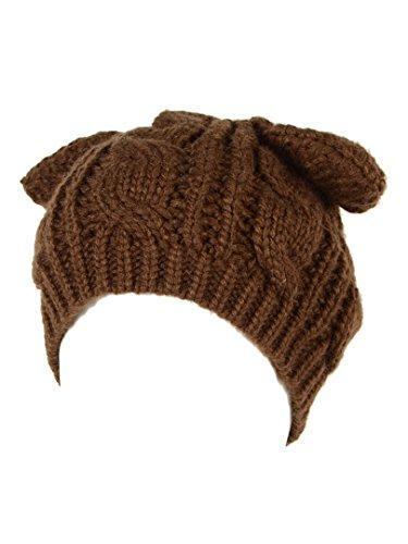 Choies Women's Acrylic Cat Ears Knit Brown Beanie Hat,ONESIZE