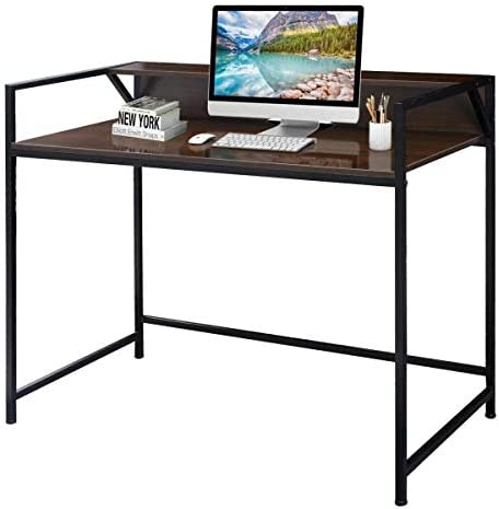 TANGKULA Computer Desk Laptop Writing Desk Student Study Desk Modern Simple Style Home Office Desk Large Size PC Laptop Study Table Workstation Writing Desk for Home and Office Brown and Black