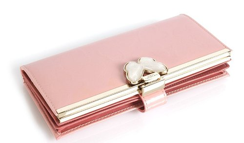 Women's Leather Checkbook Wallet with Butterfly Clasp (pink)