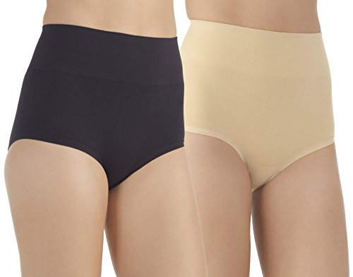 VASSARETTE Women's Comfortably Smooth Brief 2-Pack Panty 13274, Black/Latte, Small/5