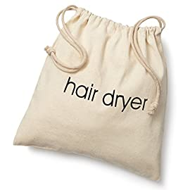 hair dryer bags - 41IDpgZs30L - FabbPro Hair Dryer Bags Storage Organizer – Beige Color – 12″ x 12″ Drawstring Closure Cover – Ideal for Home, Hotel, Guest Room or as a Travel Bag – Eco-Friendly, Washable & Reusable Cotton Twill