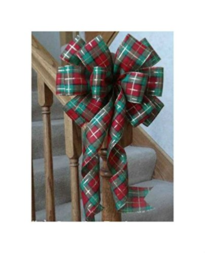 "10"" WIDE RED GREEN GOLD PLAID BOW FOR DECORATION~CHRISTMAS WREATHS, DOORS, GIFTS from Unknown"