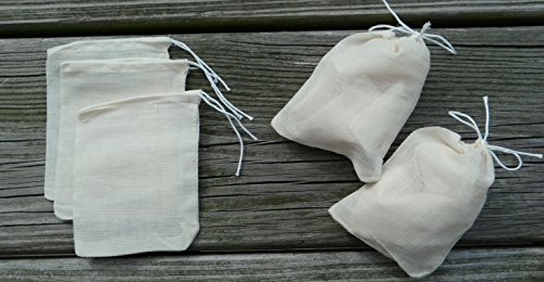 Muslin Bags 100 Count 3 by 4 3x4 Inch Inches Natural Organic Cotton Drawstring Mr & Mrs Kefir Quality