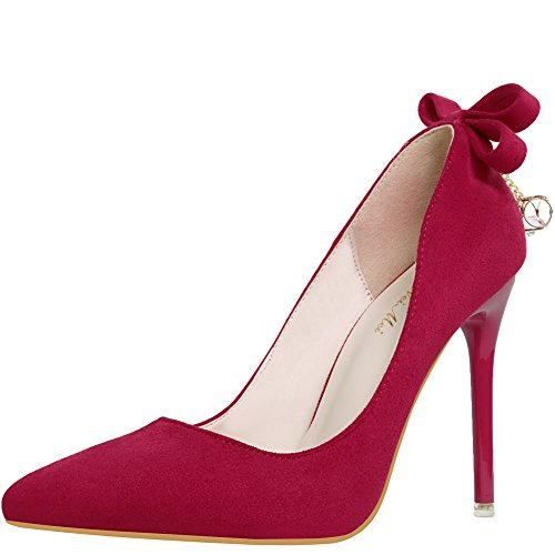 KUIBU Ladies's Classic Elegant Dressy Pointed Toe Slip on Low Top Stiletto High Heels Office Pumps Shoes