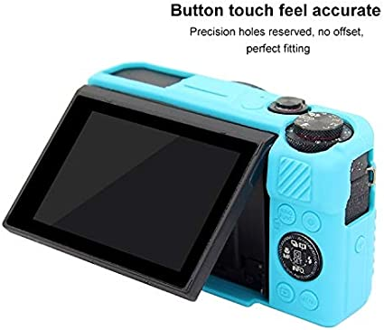 CAOMING Soft Silicone Protective Case for Canon EOS G7 X Mark II Durable Color : Blue