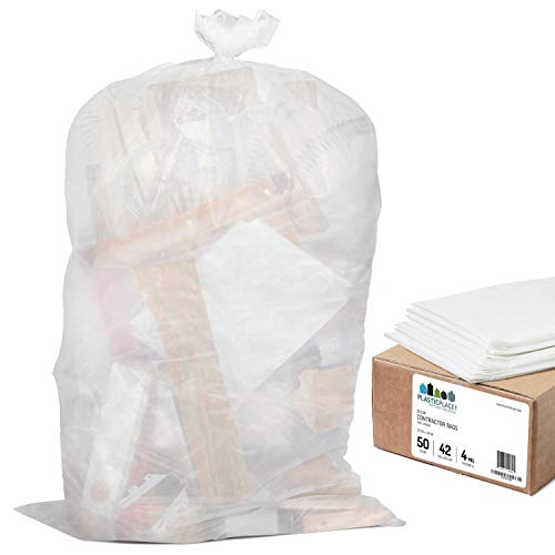 Plasticplace Contractor Trash Bags 42 Gallon - 4.0 Mil, Clear Heavy Duty Garbage Bag 33