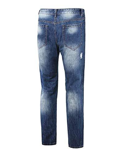 Mode Jeans Lavati Retrò Slim Di Blau Uomo Den Denim Fit Casual Strappati Bucati Marca Moda Pantaloni zrzWf7qSwI