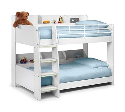 Feliz camas Domino blanco acabado estación de apagado para niños litera cama marco 3 solo