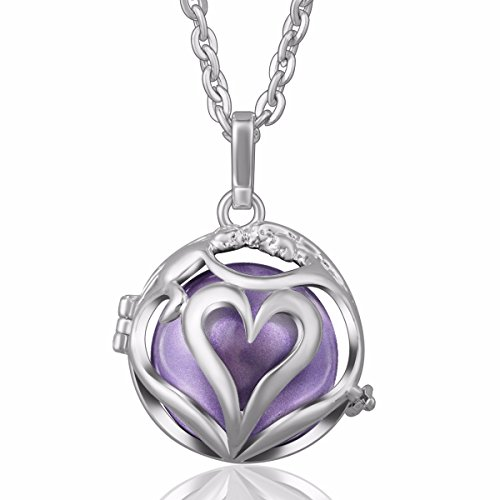 EUDORA [Love Mom] Harmony Bola Angel Chime Caller 20mm Mother Gift Pregnancy Pendant 30'' Necklace Lavender