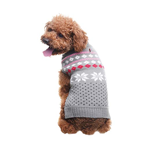 SCENEREAL Dog Sweater Christmas Winter Knitwear Xmas Clothes Classic Warm Coats for Cold Days, Grey S