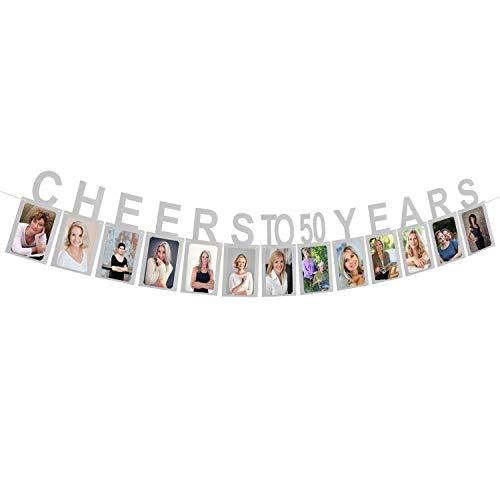 Milestone Birthday Decorations - AERZETIX Cheers to 50 Years Silver