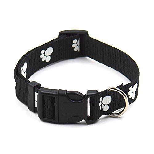 Dog Collars, Adjustable Nylon Glow Night-light Paws Design Night Safety Cat Collar for Small Medium Pet Puppy Kitten by (Paw Prints Dog Collar Collars)