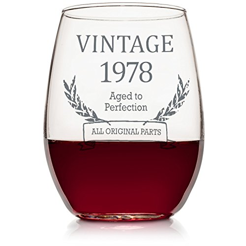40th Birthday Vintage Wine Glass, Funny Wine Glass, 40th Birthday Anniversary Gift, Stemless Wine Glass for Women and Men