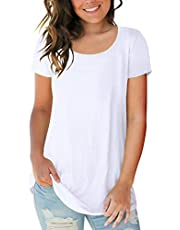 Sousuoty Women's Short Sleeve Scoop Neck T Shirt Casual Tops