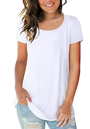 Sousuoty Women's Summer Short Sleeve Round Neck Tshirts Fitted Tee Tops White S