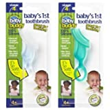 Baby Buddy Baby's 1st Toothbrush Teether—Innovative 6-Stage Oral Care System Grows With Your Child—Stage 4 for Babies/Toddlers—Kids Love Them, Green 2 Pack