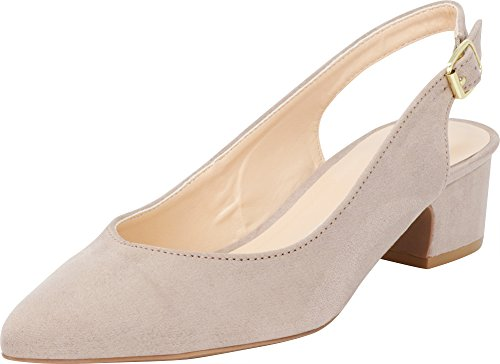 (Cambridge Select Women's Closed Pointed Toe Buckled Slingback Chunky Block Mid Heel Pump (9 B(M) US, Taupe IMSU))