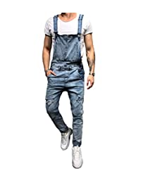 0915ecb9968 lisenraIn Men s Denim Bib Overalls Fashion Ripped Jeans Slim Jumpsuit with  Pockets