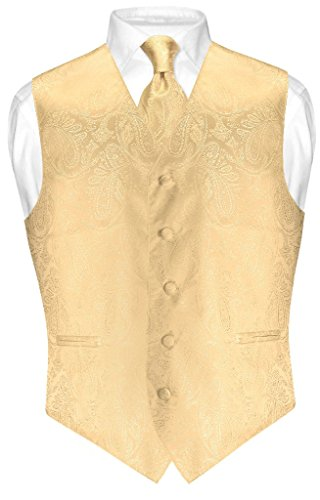 Vesuvio Napoli Men's Paisley Design Dress Vest & NeckTie GOLD Color Neck Tie Set sz 2XL