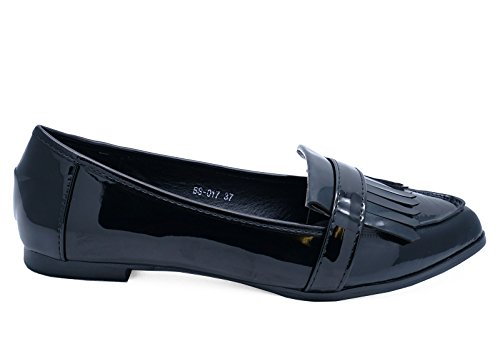 Shoes Heelzsohigh Black 8 Taglie 3 on Flat Frange Comfy Slip Ladies Smart Loafers Work vrU5qOwv