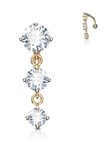 Forbidden Body Jewelry Rose Gold Plated Surgical Steel Sexy Dangle Reverse Mount Triple CZ Vertical Drop Belly ()