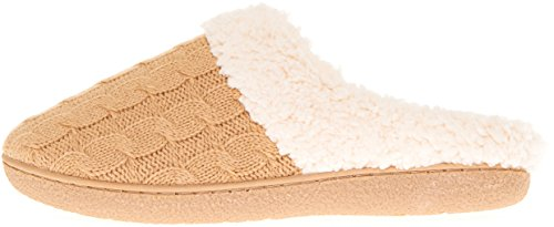 Floopi Womens Indoor Outdoor Knitted Sherpa Lined Clog Slipper W/Memory Foam Beige-302 9liQiJ5JE3