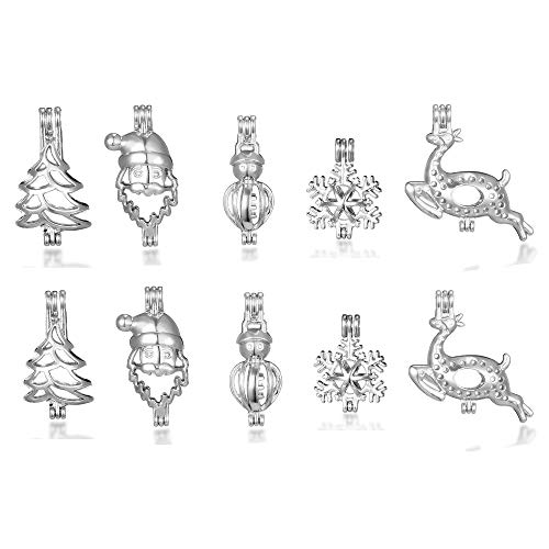 10pcs Rhodium Plated Tone Christmas Gift Snowflakes Snowman Pearl Cage Locket Jewelry Making Supplies Essential Oil Diffuser Locket Pendants Add Your Own Pearls, Stones, Rock to Cage