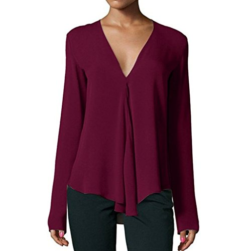 (iDWZA Women Fashion Long Sleeve Solid Blouses Casual Loose V Neck Tops Long Sleeve Shirts (Wine,)