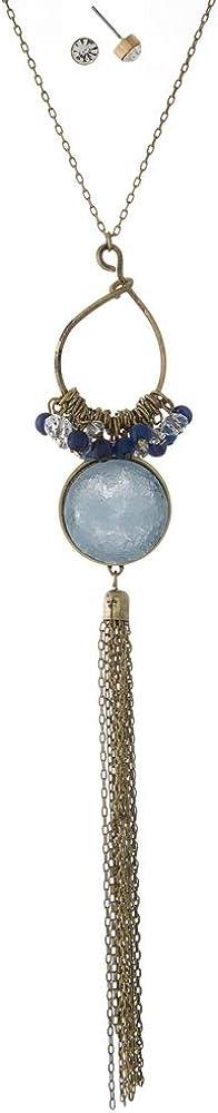 Conjunto de collar de fantasía y pendientes variados – Metal dorado envejecido, perlas y brillantes – colgante con flecos y piedra de druzy azul – 85 cm