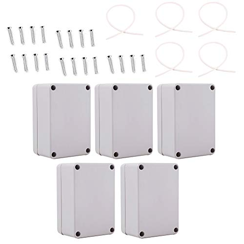 5pcs Waterproof Junction Box Cable Connect Power Project Case Enclosure (100x68x50mm)