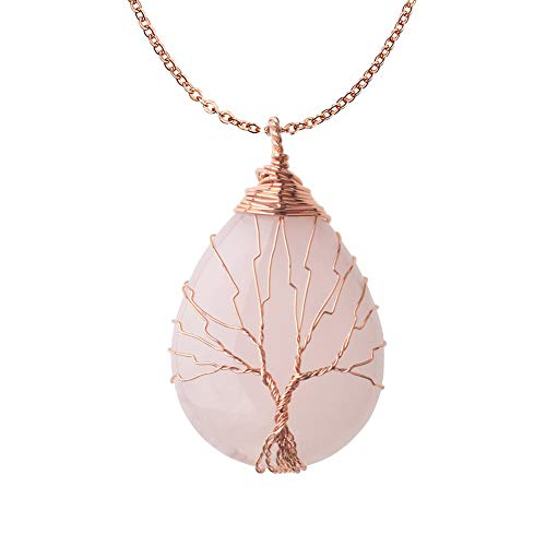 OCARLY Gemstone Drop Tree of Life Pendant Healing Crystal Chakra Necklace Copper Wire Wrapped Jewelry