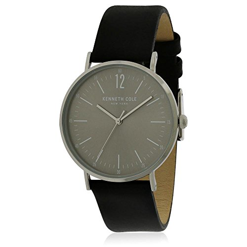 Kenneth Cole Men's Classic Grey Dial Black Leather Strap Watch, Color Grey-Black (Model: KC50506001)