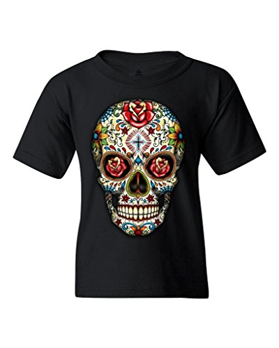 Sugar Skull Roses Youth's T-Shirt Day of Dead Shirts Youth Medium Black WS 16553 (Boys T-shirt Sugar)