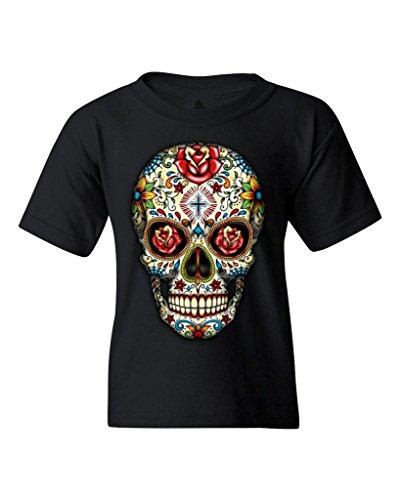 Sugar Skull Roses Youth's T-Shirt Day of Dead Shirts Youth Medium Black WS 16553 (Sugar T-shirt Boys)