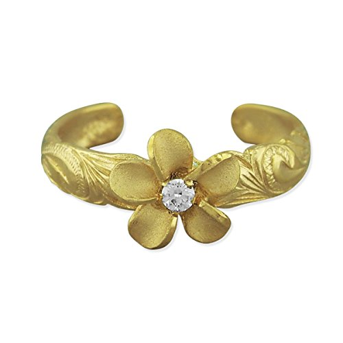 14kt Yellow Gold Plated Sterling Silver Plumeria Toe Ring ()