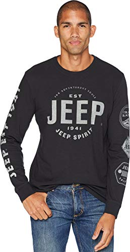 Lucky Brand Men's Long Sleeve Jeep Graphic TEE, Jet Black, L